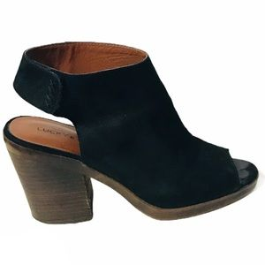 Lucky brand Odenah leather open toe shoes booties